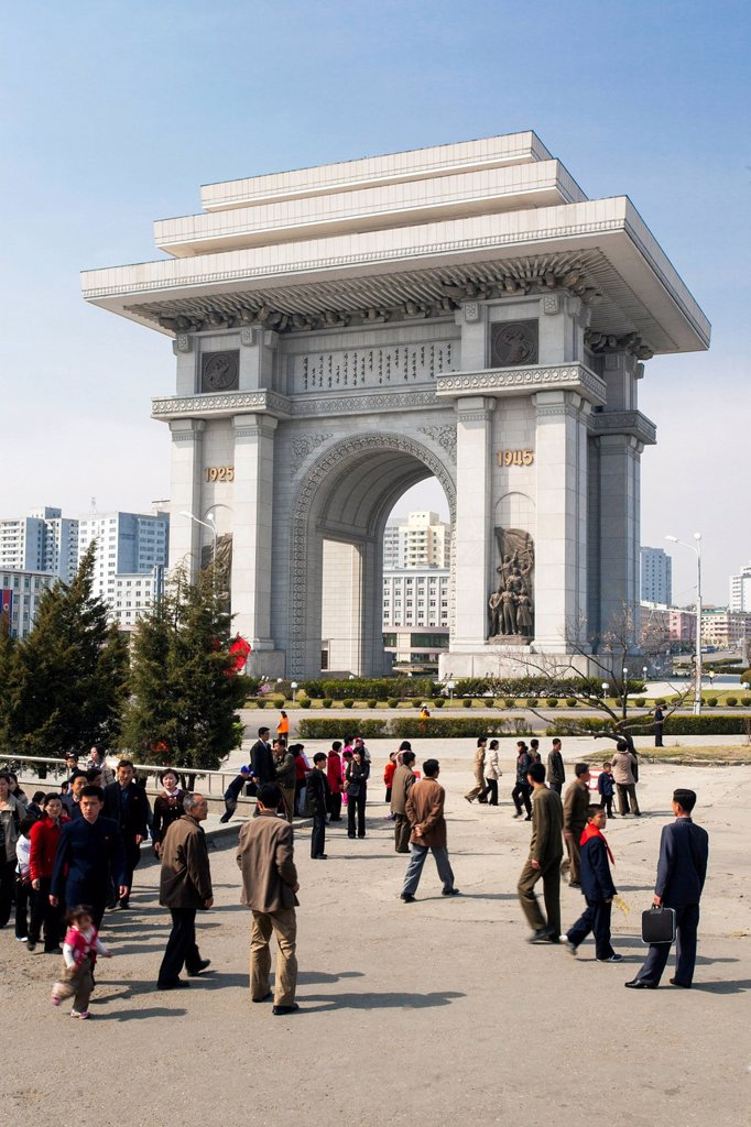 Stock Photo: 1890-152344 Arch of Triumph, 3m higher than the Arc de Triomphe in Paris, Pyongyang, Democratic People´s Republic of Korea DPRK, North Korea, Asia