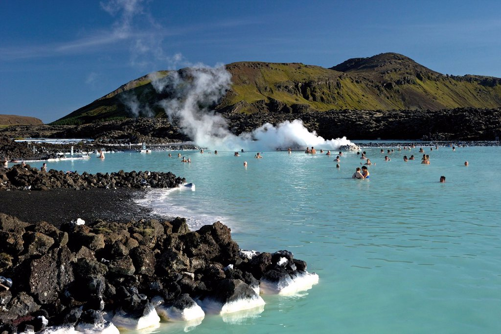 Stock Photo: 1890-152563 Outdoor geothermal swimming pool and power plant at the Blue Lagoon, Iceland, Polar Regions