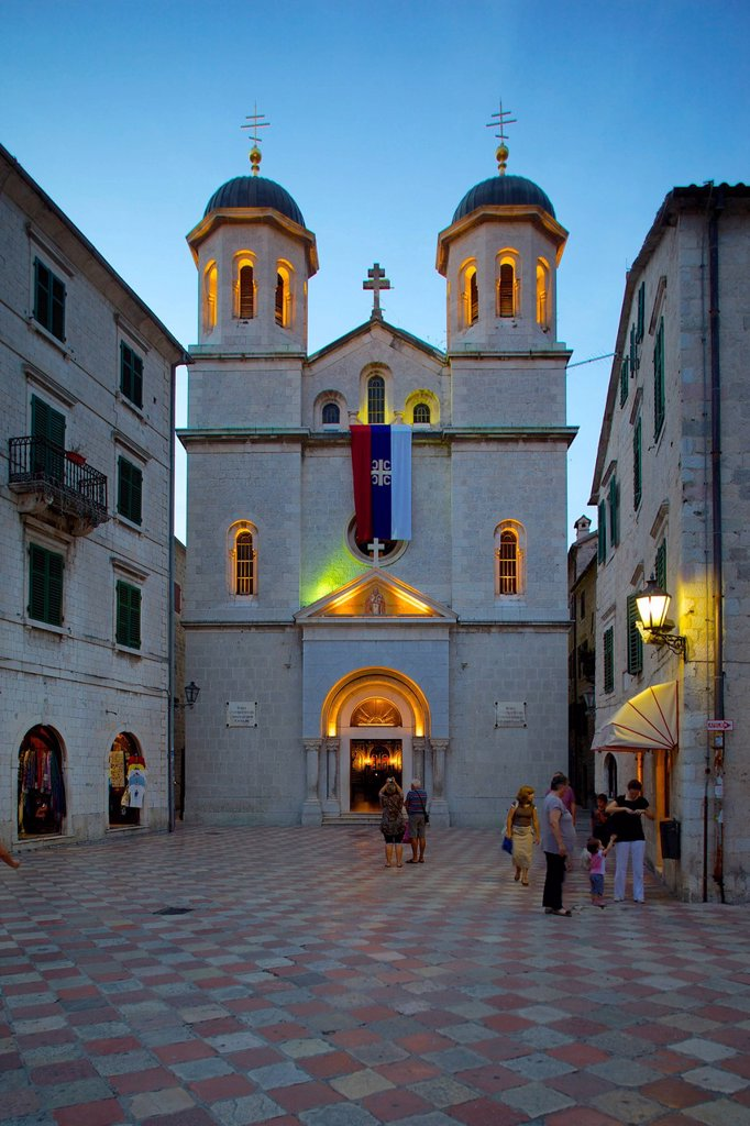 Stock Photo: 1890-152592 St. Nicholas Serbian Orthodox Church at dusk, Old Town, UNESCO World Heritage Site, Kotor, Montenegro, Europe