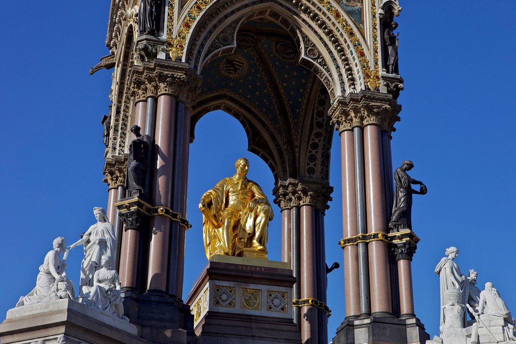 Albert Memorial, Kensington Gardens, London, England, United Kingdom, Europe : Stock Photo