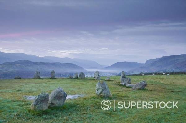 Stock Photo: 1890-152841 Castlerigg stone circle in the Lake District National Park, Cumbria, England, United Kingdom, Europe