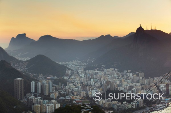 View of Christ the Redeemer statue atop Corcovado and Botafogo, Rio de Janeiro, Brazil, South America : Stock Photo