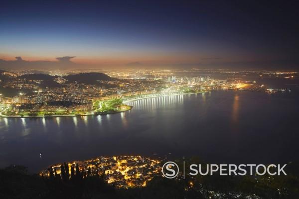 View of Urca, Flamengo and Centro at sunset, Rio de Janeiro, Brazil, South America : Stock Photo