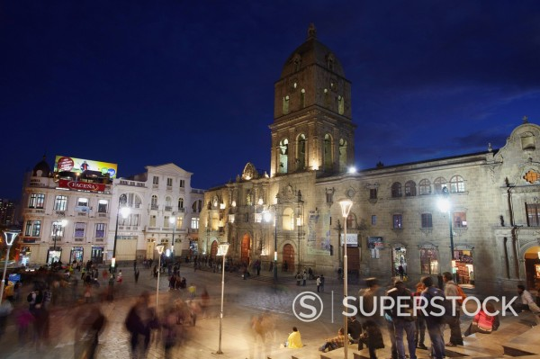 San Francisco Church in Plaza San Francisco at dusk, La Paz, Bolivia, South America : Stock Photo