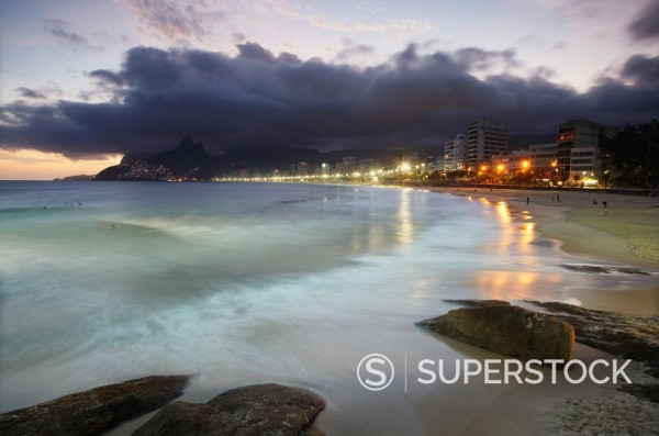 Stock Photo: 1890-154091 Ipanema beach at sunset, Rio de Janeiro, Brazil, South America