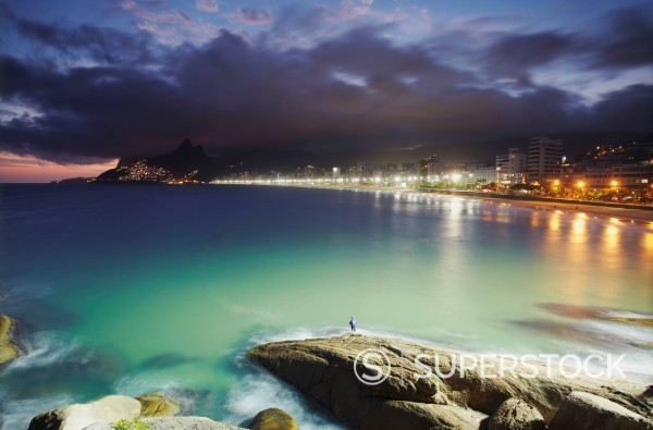 Stock Photo: 1890-154092 Ipanema beach and Ponta do Aproador at sunset, Rio de Janeiro, Brazil, South America