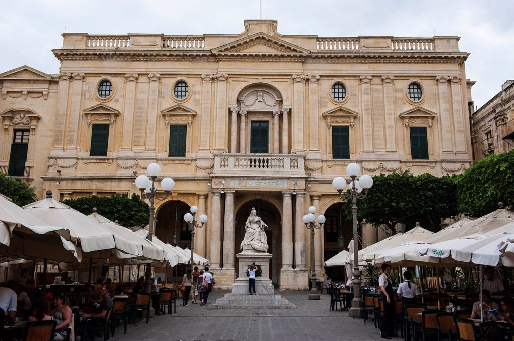 National Library with cafes in Valetta, UNESCO World Heritage Site, Malta, Europe : Stock Photo