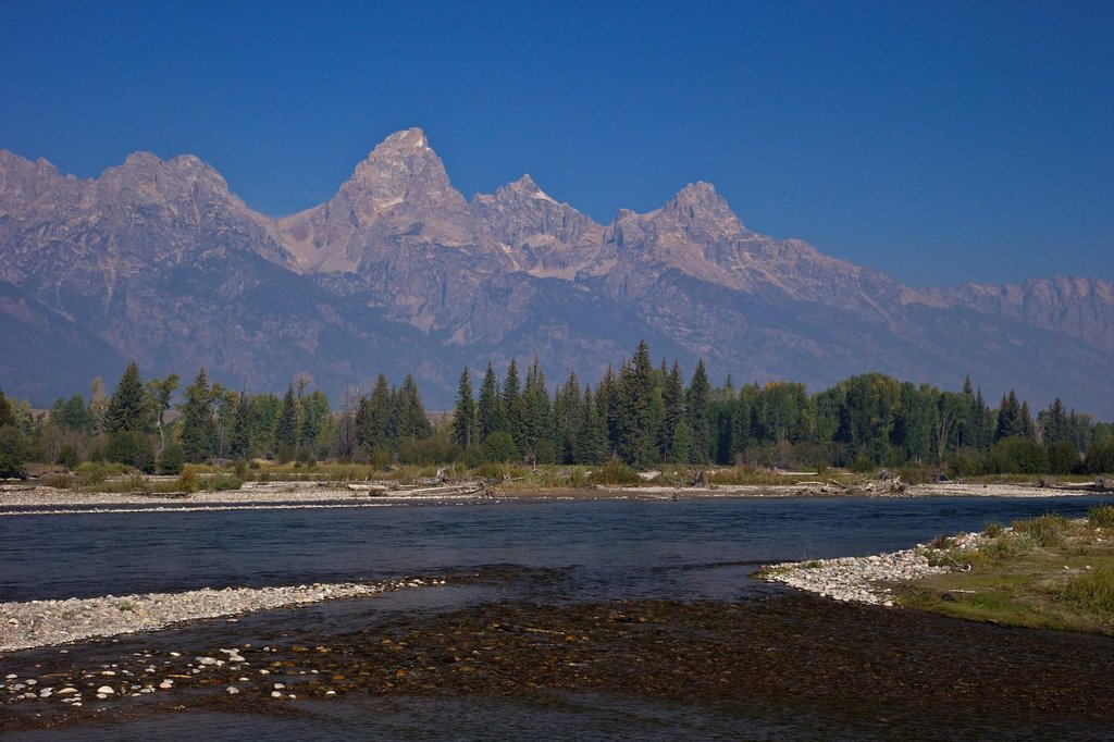 Snake River and Grand Teton Cathedral Group from Blacktail Ponds area, Grand Teton National Park, Wyoming, United States of America, North America : Stock Photo