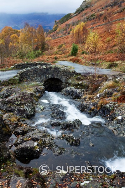 Stock Photo: 1890-154865 Ashness Bridge in autumn near Keswick, Lake District National Park, Cumbria, England, United Kingdom, Europe
