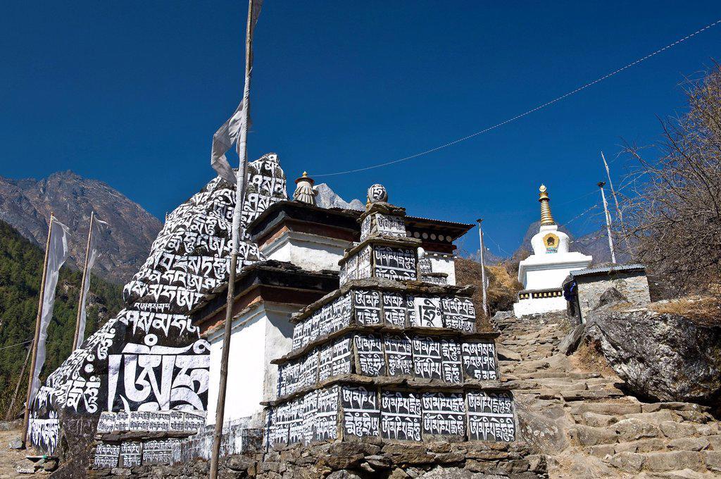 Mani Walls, Solu Khumbu Region, Nepal, Asia : Stock Photo