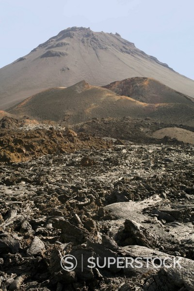 Stock Photo: 1890-15650 Pico and Lava, volcano, Fogo, Cape Verde Islands, Africa