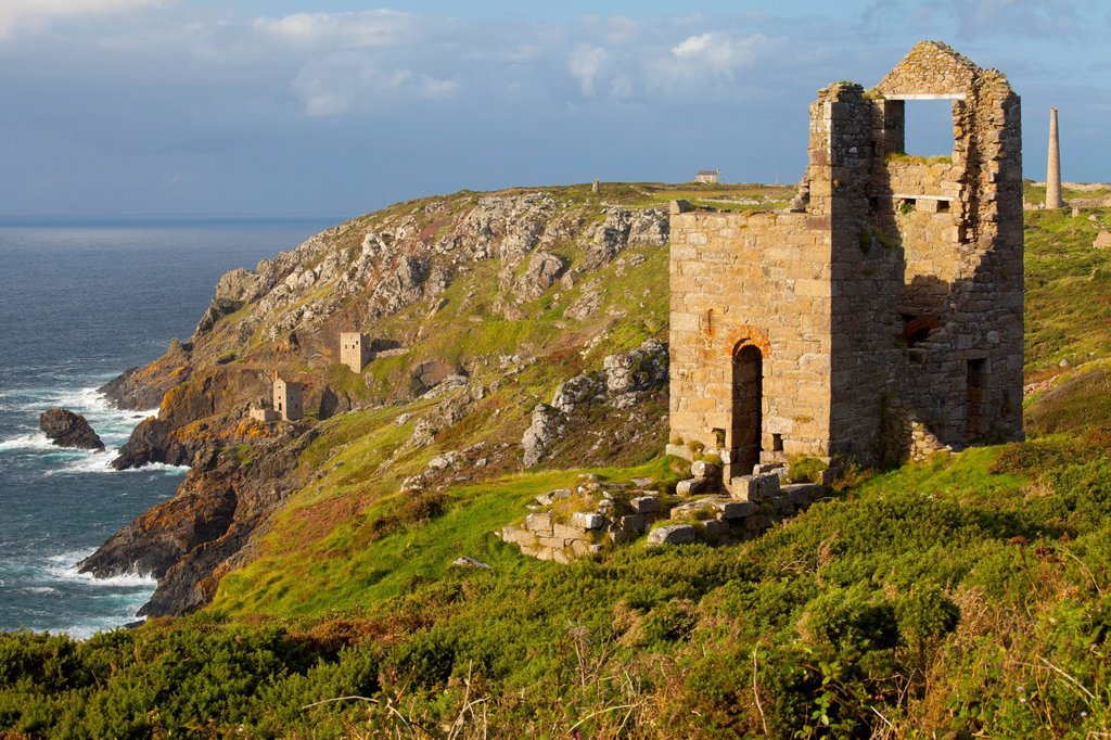 Stock Photo: 1890-156730 Abandoned Tin Mine near Botallack, UNESCO World Heritage Site, and rocky coast, Cornwall, England, United Kingdom, Europe