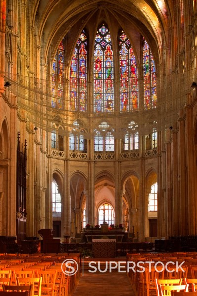 Stock Photo: 1890-157963 The interior of Saint Pierre church in Chartres, Eure-et-Loir, Centre, France, Europe