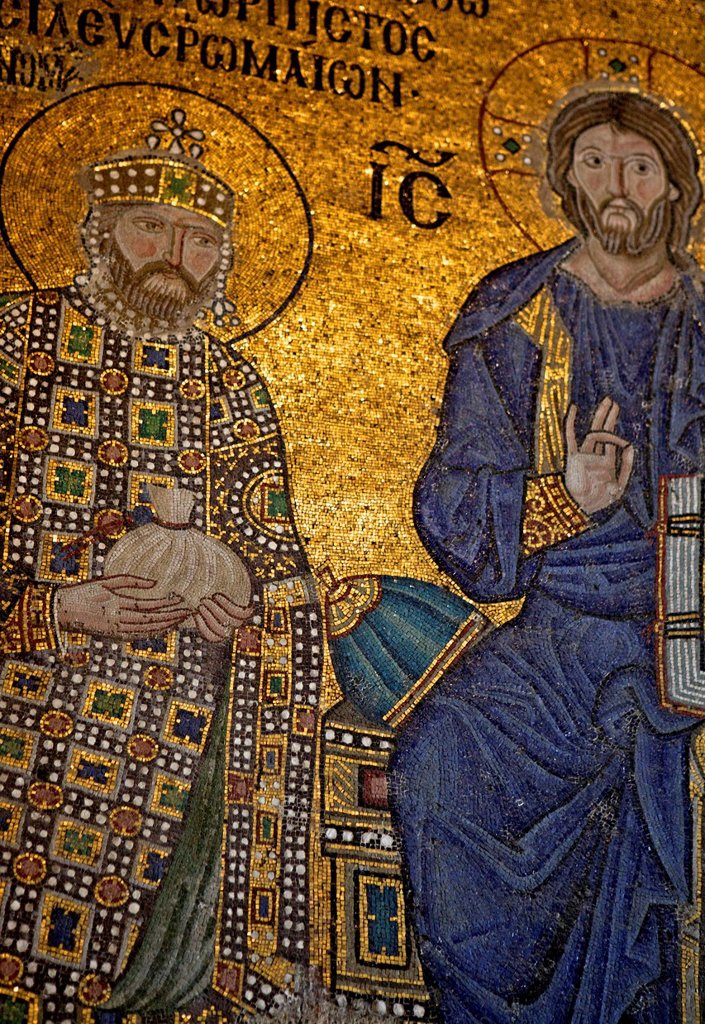 Stock Photo: 1890-157984 Mosaic of Emperor Constantine IX Monomachos, Hagia Sophia, UNESCO World Heritage Site, Istanbul, Turkey, Europe, Eurasia