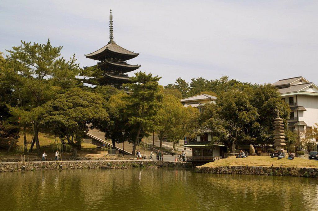 Stock Photo: 1890-15808 Five Storey Pagoda and Sarusawa Pond, Nara, Japan, Asia