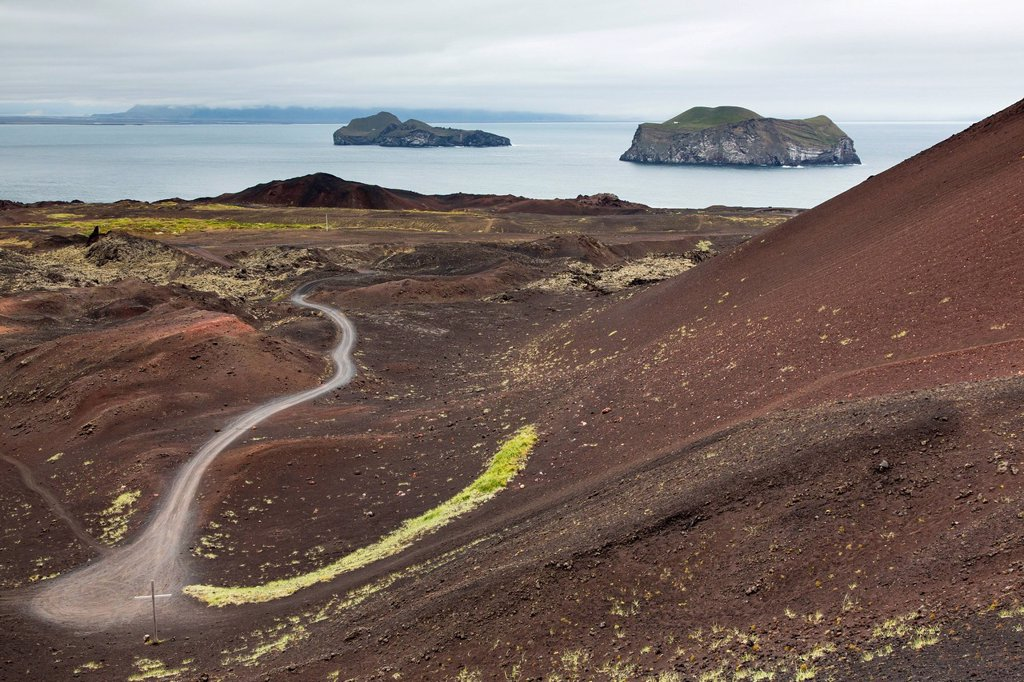 Stock Photo: 1890-158441 Overlooking recent lava flow on Heimaey Island, Iceland, Polar Regions