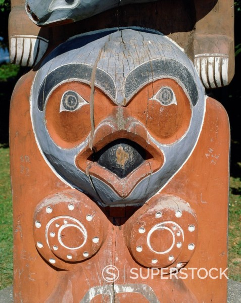 Stock Photo: 1890-1589 Totems, Stanley Park, Vancouver, British Columbia, Canada, North America