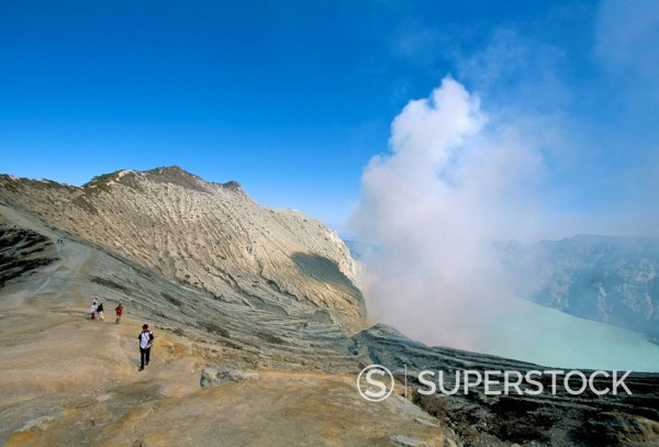Tourists trekking, Sulphur Lake, Kawah Ijen, Ijen Plateau, island of Java, Indonesia, Southeast Asia, Asia : Stock Photo