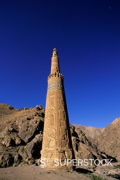 The 65 metre tall Minaret of Jam, built by Sultan Ghiyat Ud_Din Muhammad ben San, in around 1190, with Kufic script and verses of the Koran on the exterior, UNESCO World Heritage Site, Ghor Province, Afghanistan, Asia : Stock Photo