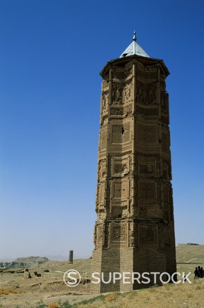 Stock Photo: 1890-16220 The minaret of Bahram Shah, one of two minarets built by Sultan Mas´ud III and Bahram Shah with square Kufic and Noshki script, that served as models for the minaret of Jam, and believed to have originally been part of mosques, Ghazni, Afghanistan, Asia