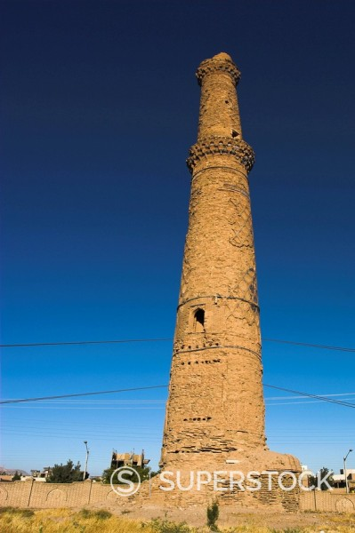 Stock Photo: 1890-16226 Minaret supported by steel cables to prevent it from collapse, a project undertaken by UNESCO and local experts in 2003, The Mousallah Complex, Herat, Herat Province, Afghanistan, Asia