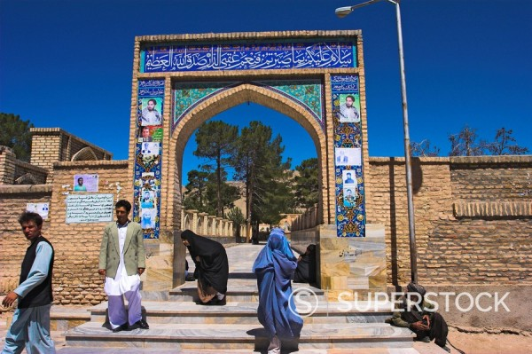 Stock Photo: 1890-16298 Pilgrims at main entrance arch, Sufi shrine of Gazargah, Herat, Herat Province, Afghanistan, Asia