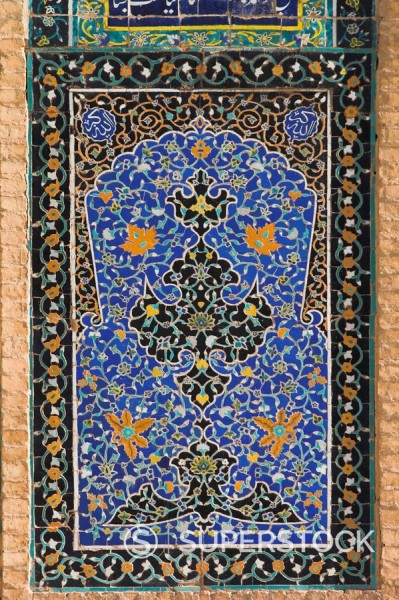 Detail of tilework on the Friday Mosque or Masjet_eJam, built in the year 1200 by the Ghorid Sultan Ghiyasyddin on the site of an earlier 10th century mosque, Herat, Herat Province, Afghanistan, Asia : Stock Photo