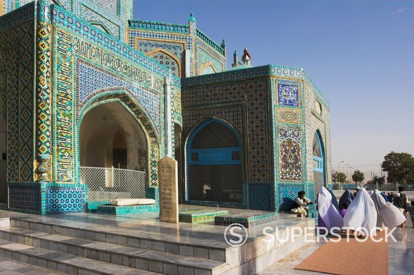 Stock Photo: 1890-16344 Pilgrims at the shrine of Hazrat Ali, who was assassinated in 661, Mazar_I_Sharif, Balkh province, Afghanistan, Asia