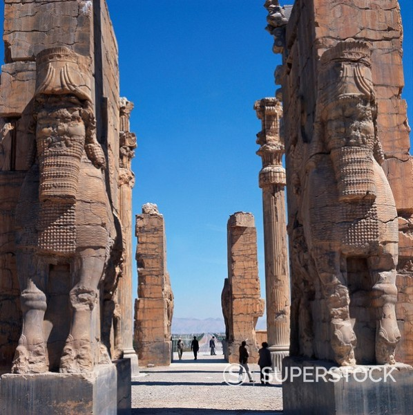 Stock Photo: 1890-1635 Porch of Xerxes, Persepolis, UNESCO World Heritage Site, Iran, Middle East