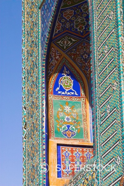 Stock Photo: 1890-16372 Tilework detail, Shrine of Hazrat Ali, who was assassinated in 661, Mazar_I_Sharif, Balkh province, Afghanistan, Asia