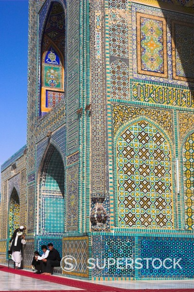 Stock Photo: 1890-16382 Pilgrims at the Shrine of Hazrat Ali, who was assassinated in 661, Mazar_I_Sharif, Balkh province, Afghanistan, Asia