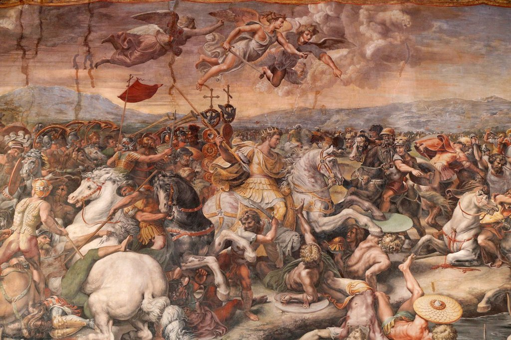 Stock Photo: 1890-164017 The Battle of the Milvian Bridge in the Hall of Constantine, 1613, by Raphael, Vatican Museum, Vatican, Rome, Lazio, Italy, Europe