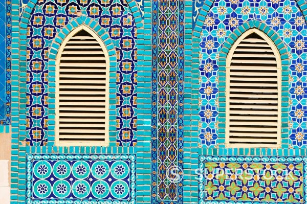 Tiling round shuttered windows, Shrine of Hazrat Ali, who was assissinated in 661, Mazar_I_Sharif, Balkh province, Afghanistan, Asia : Stock Photo