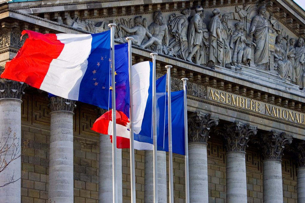 Stock Photo: 1890-168479 Flags fly on flagpoles outside Assemblée Nationale, Palais Bourbon, Central Paris, France