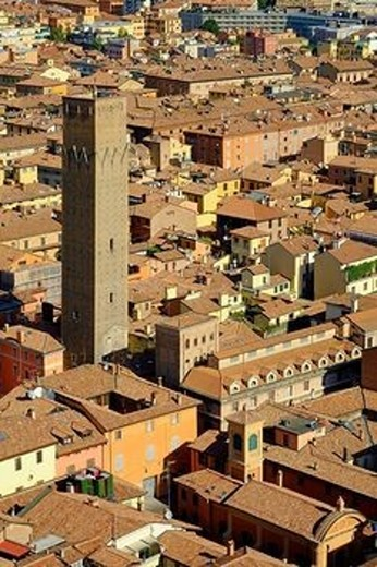 Cityscape over one of the towers of the town, Bologna, Emilia-Romagna, Italy, Europe : Stock Photo