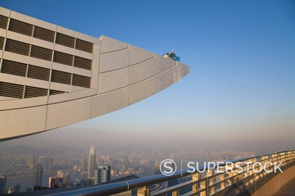 People on the viewing gallery of the Peak Tower, Victoria Peak, Hong Kong Island, Hong Kong, China, Asia : Stock Photo