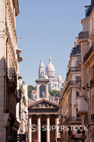 Stock Photo: 1890-172105 The Basilica of Sacre Coeur through the streets of Paris, France, Europe