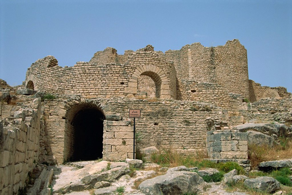 Roman Baths, Dougga, UNESCO World Heritage Site, Tunisia, North Africa, Africa : Stock Photo