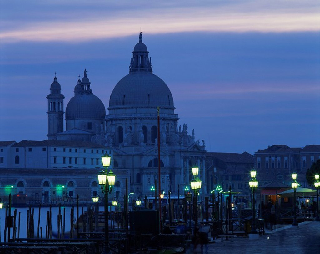 Santa Maria Della Salute at dusk in Venice, UNESCO World Heritage Site, Veneto, Italy, Europe : Stock Photo
