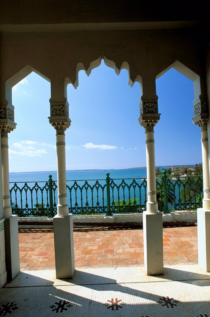 Stock Photo: 1890-17784 View to sea through Moorish arches at Palacio de Valle, Cienfuegos, Cuba, West Indies, Central America