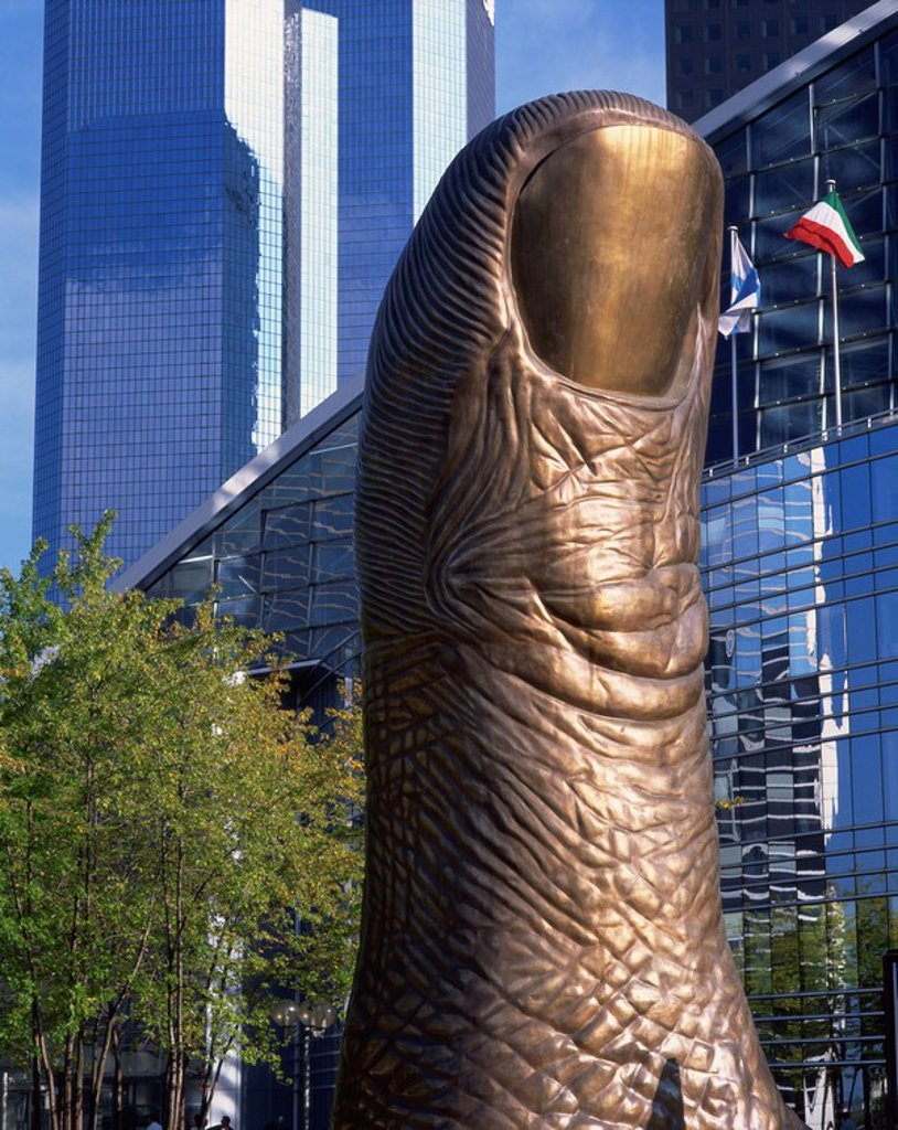 Stock Photo: 1890-18279 Bronze Thumb sculpture, La Defense, Paris, France, Europe