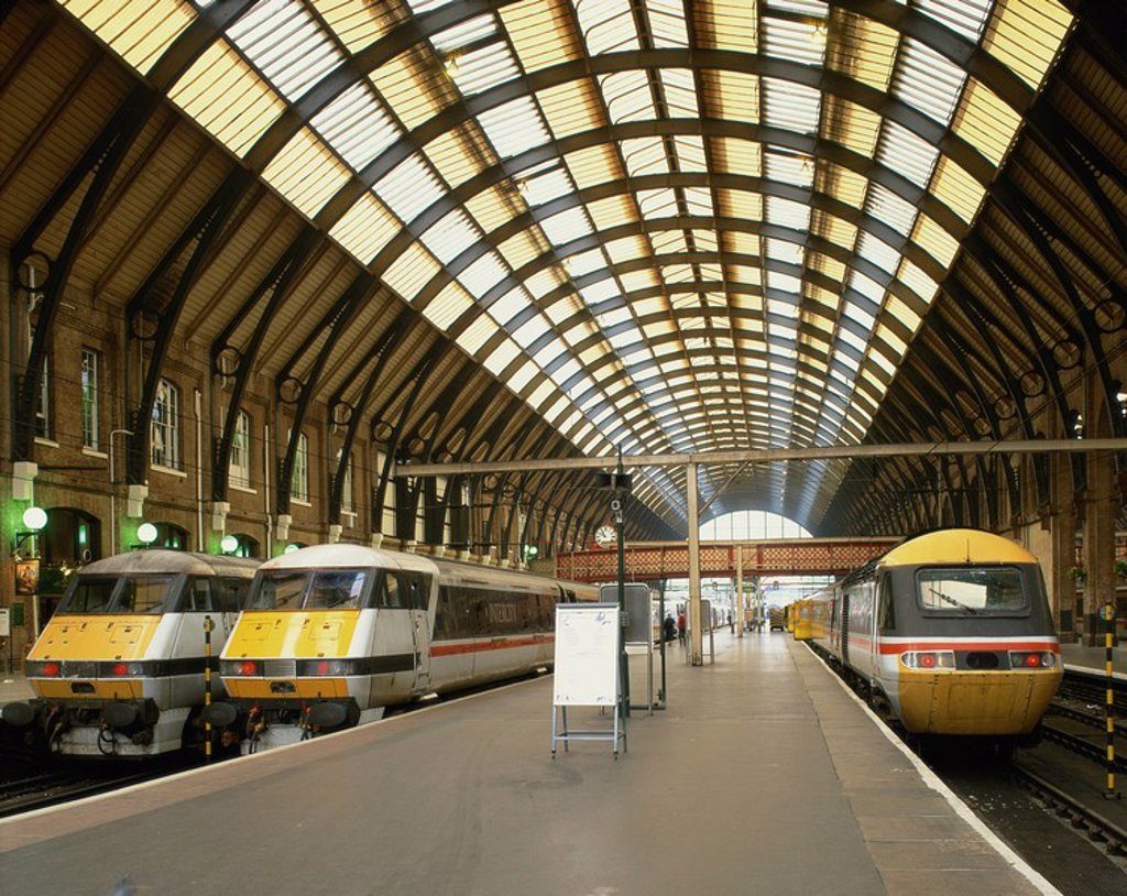 Stock Photo: 1890-18282 Intercity trains and platform at Kings Cross station in London, England, United Kingdom, Europe