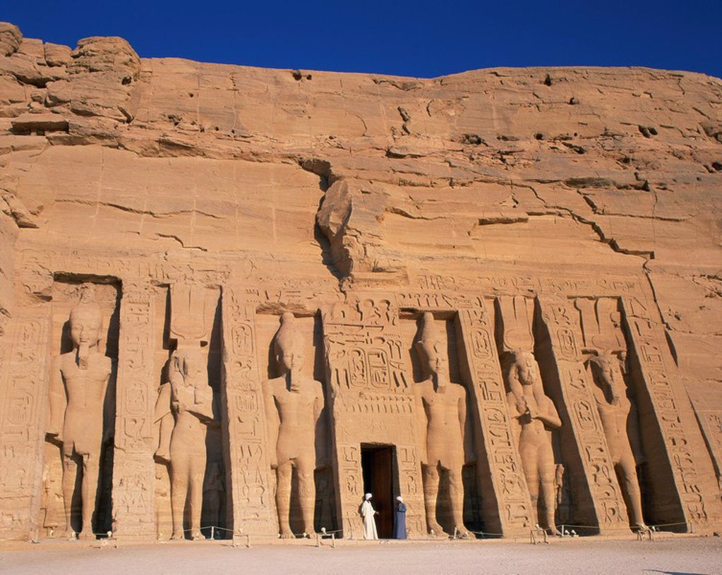 Stock Photo: 1890-18331 Statues of Ramses II and Queen Nefertari on front of the Temple of Hathor, built in honour of Queen Nefertari, Abu Simbel, UNESCO World Heritage Site, Nubia, Egypt, North Africa, Africa