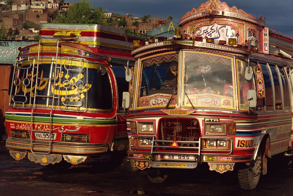 Stock Photo: 1890-18637 Bus station, Mingora, Swat Valley, Pakistan, Asia