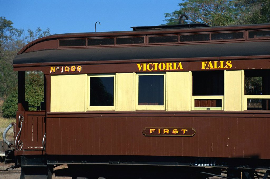 Stock Photo: 1890-18724 First class carriage at railway station, Victoria Falls, Zimbabwe, Africa