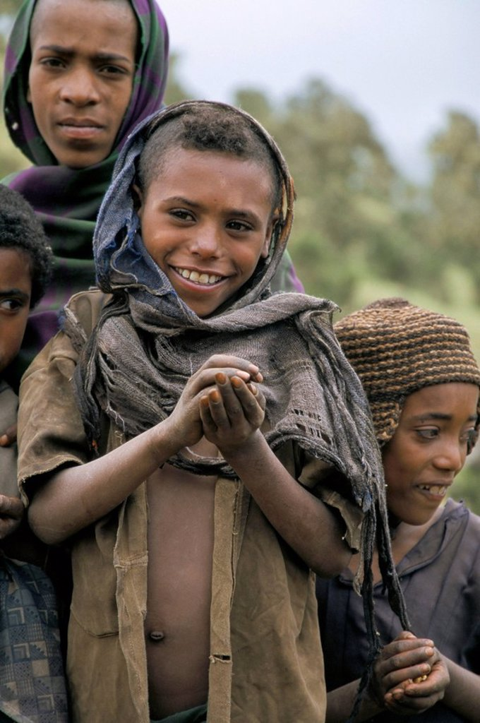 Local children near Chenek, Simien Mountains National Park, Ethiopia, Africa : Stock Photo