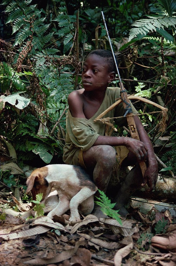 Young boy sitting in jungle with dog and wooden crossbow, southeast area, Cameroon, West Africa, Africa : Stock Photo