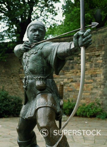 Stock Photo: 1890-19160 Statue of Robin Hood, Nottingham, Nottinghamshire, England, United Kingdom, Europe