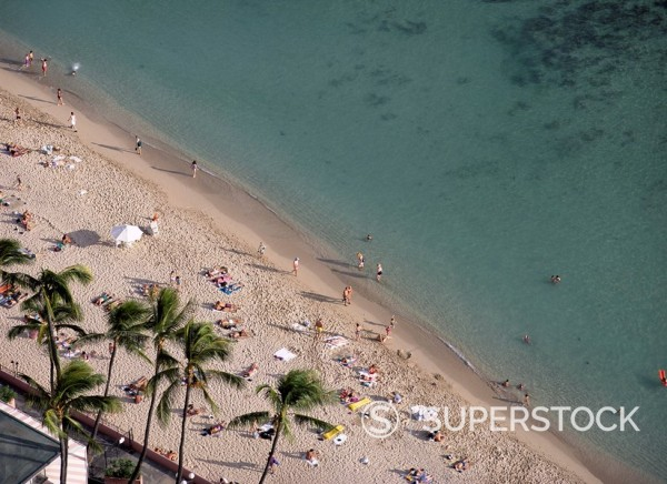 Stock Photo: 1890-19180 Aerial view of Waikiki Beach, Honolulu, Oahu island, Hawaii, Hawaiian Islands, Pacific, United States of America USA, North America