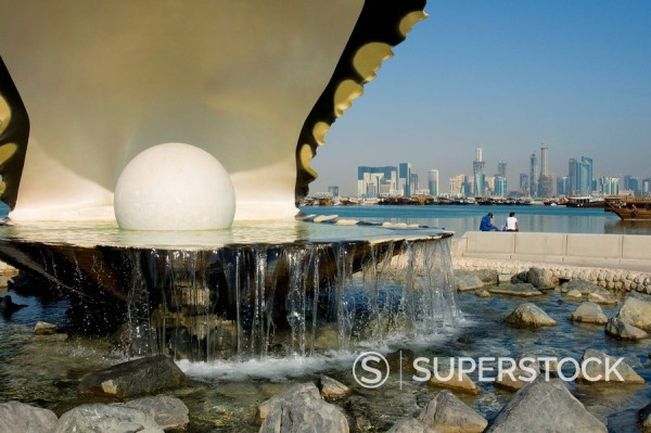 Stock Photo: 1890-19918 Waterfront oyster pearl sculpture, Doha Bay, Doha, Qatar, Middle East